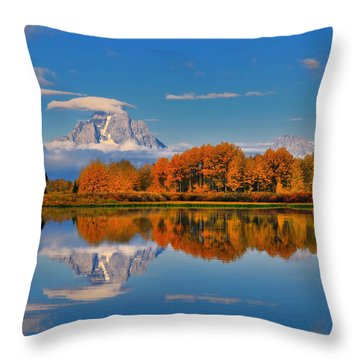 Autumn Foliage At The Oxbow Throw Pillow