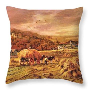 Throw Pillow featuring the digital art Autumn Folk Art - Haying Time by Lianne Schneider