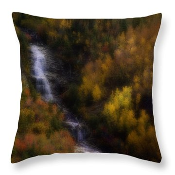 Throw Pillow featuring the photograph Autumn Forest Falls by Ellen Heaverlo