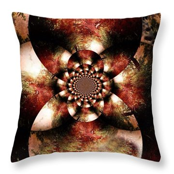 Autumn Fractal Abstract Throw Pillow by Maggie Vlazny