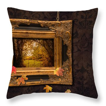 Autumn Frame Throw Pillow by Amanda Elwell