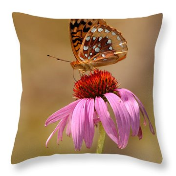 Autumn Fritillary Butterfly Throw Pillow by Lara Ellis
