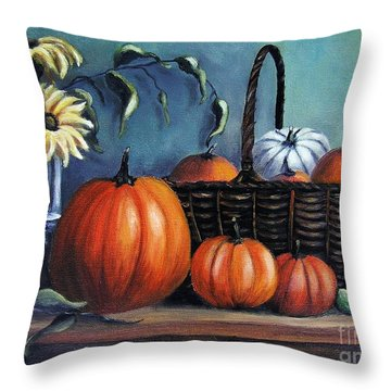 Throw Pillow featuring the painting Autumn Gifts by Vesna Martinjak