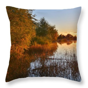 Autumn Glow At The Lake Throw Pillow by Diane Alexander