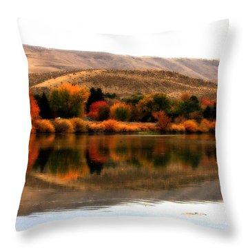 Autumn Glow On The Yakima River Throw Pillow by Carol Groenen
