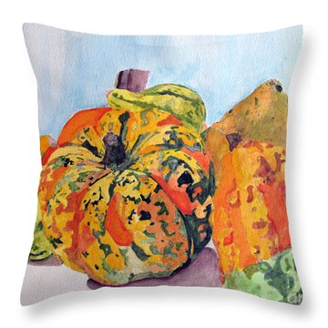 Autumn Gourds Throw Pillow by Sandy McIntire