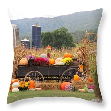 Autumn Harvest In Wagon Throw Pillow by Jeanette Oberholtzer