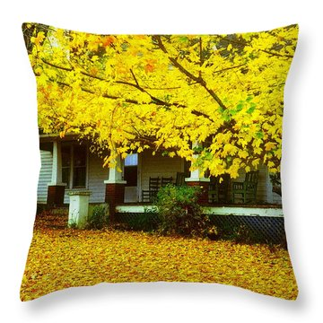 Throw Pillow featuring the photograph Autumn Homestead by Rodney Lee Williams