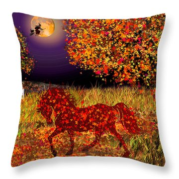 Autumn Horse Bewitched Throw Pillow