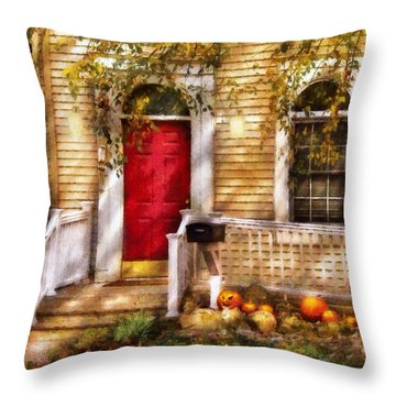 Autumn - House - A Hint Of Autumn  Throw Pillow by Mike Savad