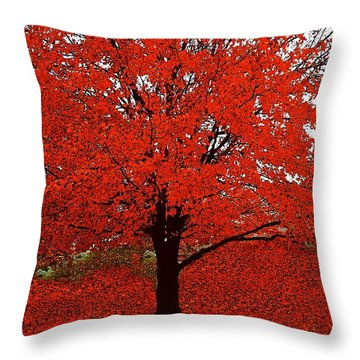 Red Tree Impressions #1 Red Throw Pillow