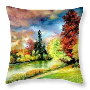 Throw Pillow featuring the painting Autumn In Park by Sorin Apostolescu