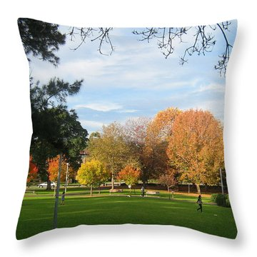 Throw Pillow featuring the photograph Autumn In The Park by Leanne Seymour