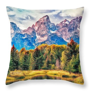 Autumn In The Tetons Throw Pillow by Dominic Piperata