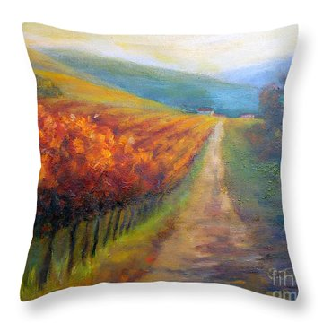 Autumn In The Vineyard Throw Pillow by Carolyn Jarvis