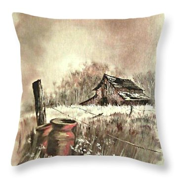 Throw Pillow featuring the painting Autumn In View At Mac Gregors Barn by Carol Wisniewski