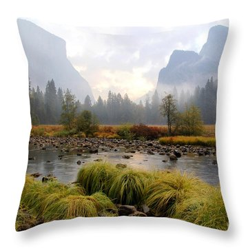 Autumn In Yosemite Valley Throw Pillow