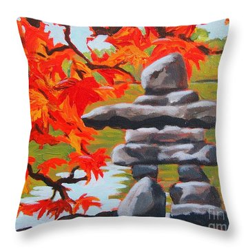 Autumn Inukshuk Throw Pillow