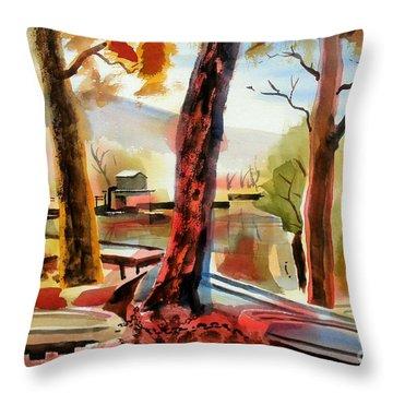 Autumn Jon Boats I Throw Pillow by Kip DeVore