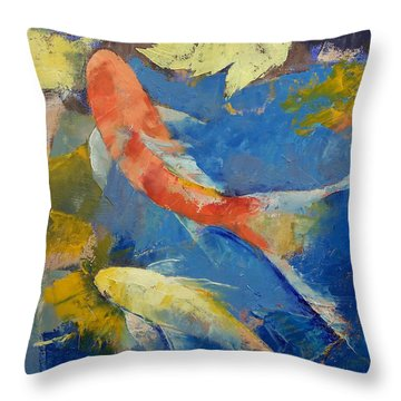 Autumn Koi Garden Throw Pillow