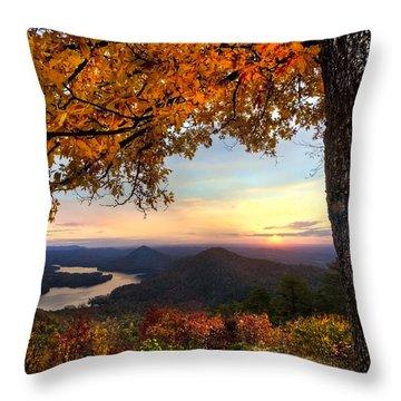 Autumn Lake Throw Pillow by Debra and Dave Vanderlaan