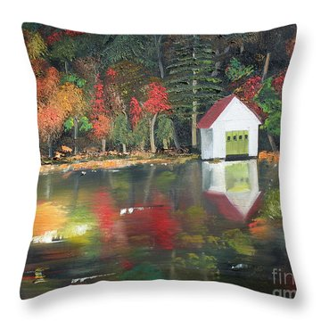 Autumn - Lake - Reflecton Throw Pillow