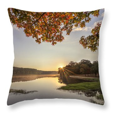 Autumn Lake Sunrise In East Texas Throw Pillow