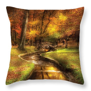 Autumn - Landscape - By A Little Bridge  Throw Pillow by Mike Savad
