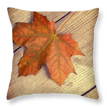 Autumn Leaf Throw Pillow by Amanda Elwell