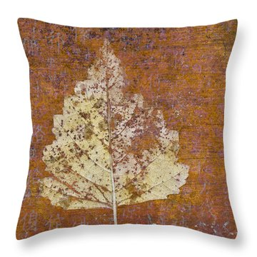 Autumn Leaf On Copper Throw Pillow