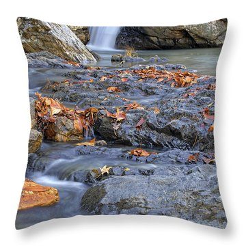 Autumn Leaves At Little Missouri Falls - Arkansas - Waterfall Throw Pillow by Jason Politte
