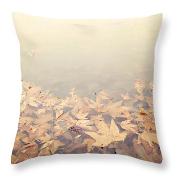 Autumn Leaves Floating In The Fog Throw Pillow by Angela A Stanton