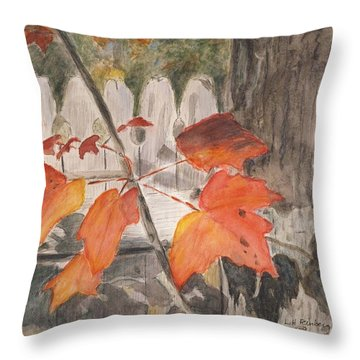 Autumn Leaves On Belmont St Throw Pillow