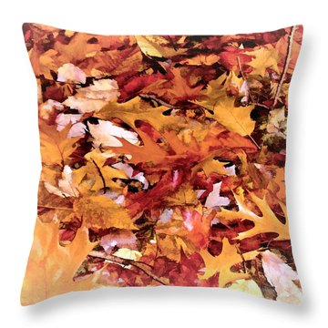 Autumn Leaves On The Ground In New Hampshire In Muted Colors Throw Pillow