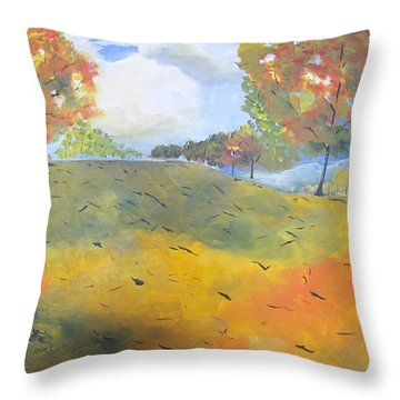 Throw Pillow featuring the painting Autumn Leaves Panel 2 Of 2 by Gary Smith