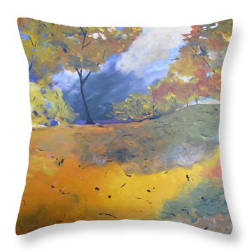 Throw Pillow featuring the painting Autumn Leaves Panel1 Of 2 Panels by Gary Smith