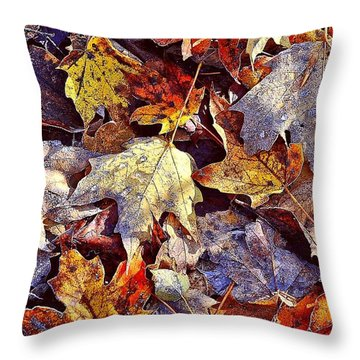 Autumn Leaves With Frost Throw Pillow