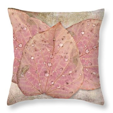Autumn Leaves With Water Drops  Throw Pillow by Angela A Stanton