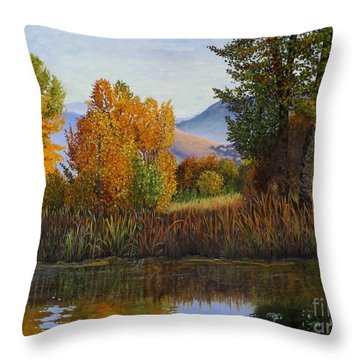 Autumn Light Throw Pillow by Beverly Theriault