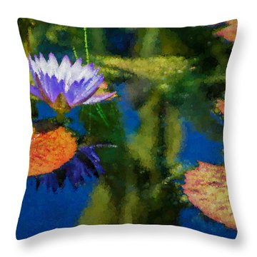 Autumn Lily Pad Impressions Throw Pillow