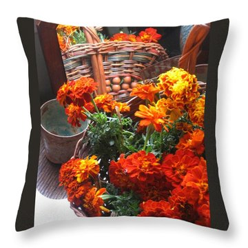 Autumn Marigolds Throw Pillow
