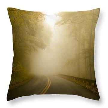 Autumn Mist Blue Ridge Parkway Throw Pillow
