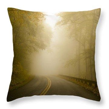Autumn Mist Blue Ridge Parkway Throw Pillow by Terry DeLuco
