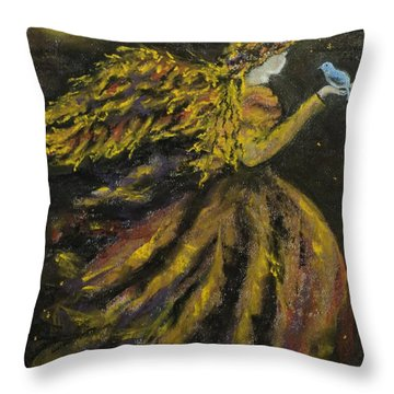 Autumn Moon Angel Throw Pillow