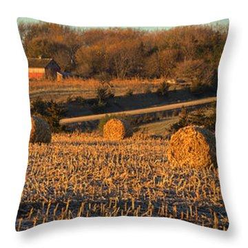 Autumn Morning Bales Throw Pillow