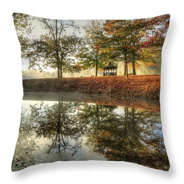 Autumn Morning Throw Pillow by Jaki Miller