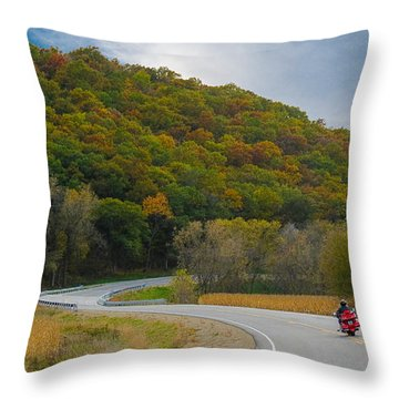 Autumn Motorcycle Rider / Orange Throw Pillow by Patti Deters