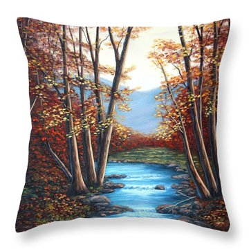 Autumn Mountain Stream  Throw Pillow