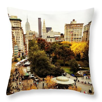 Autumn - New York Throw Pillow by Vivienne Gucwa