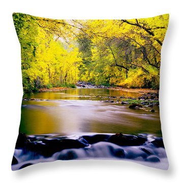 Autumn On Oak Creek Throw Pillow
